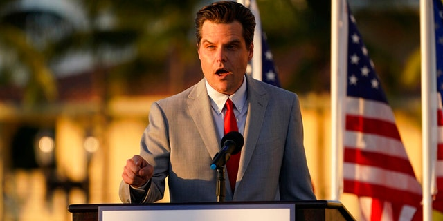 "Congressman Matt Gaetz, R-Fla., speaks at ""Women for American First"" event, Friday, April 9, 2021, in Doral, Fla. The House Ethics Committee has opened an investigation of Rep. Gaetz, citing reports of sexual and other misconduct by the Florida Republican."