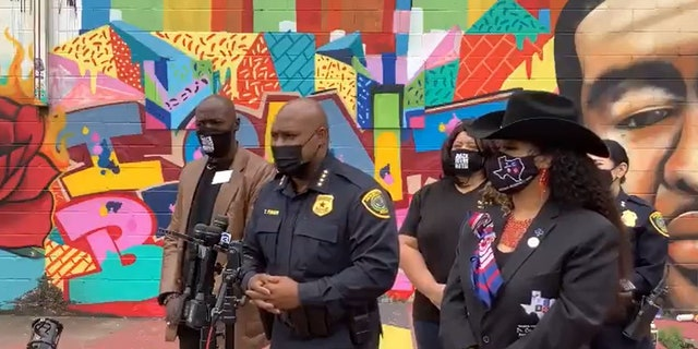 Houston Police Chief Troy Finner, during a press conference Thursday in front of the mural