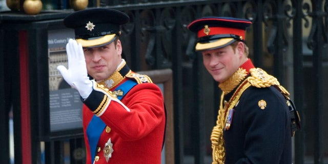 Prince William and Prince Harry arrive to attend the Royal Wedding of Prince William to Catherine Middleton at Westminster Abbey on April 29, 2011, in London, England. The marriage of the second in line to the British throne is to be led by the Archbishop of Canterbury and will be attended by 1900 guests, including foreign Royal family members and heads of state. Thousands of well-wishers from around the world have also flocked to London to witness the spectacle and pageantry of the royal wedding.