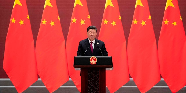 China's President Xi Jinping speaks at the Great Hall of the People in Beijing on April 26, 2019. (Getty Images)