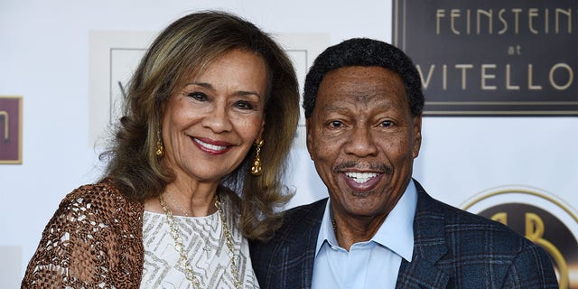 Singer Marilyn McCoo (L) and musician Billy Davis Jr. arrive at the debut of the Southern California location of Michael Feinstein's new supper club Feinstein's at Vitello's on June 13, 2019, in Studio City, California.