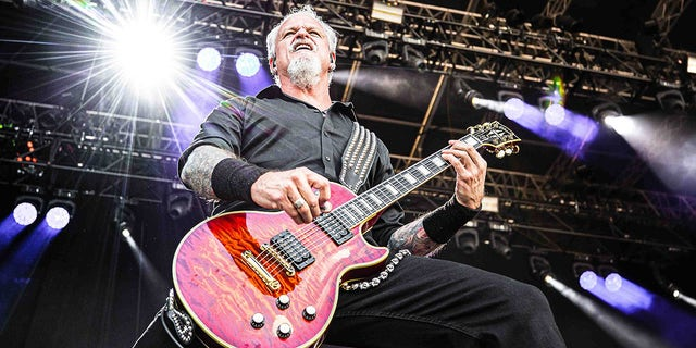 Guitarist Jon Schaffer performs with the German-American power metal band Demons & Wizards during the Danish heavy metal festival Copenhell 2019 in Copenhagen. (PYMCA/Avalon/Gonzales Photo/Peter Troest/Universal Images Group via Getty Images)