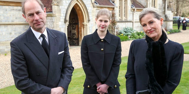 Prince Edward, Earl of Wessex and Sophie, Countess of Wessex with their daughter Lady Louise Windsor, during a television interview at the Royal Chapel of All Saints, Windsor, following the announcement on Friday April 9th of the death of Prince Philip, Duke of Edinburgh, at the age of 99, on April 11, 2021 in Windsor, England.