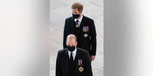 Prince William (front) and Prince Harry put aside their tensions to say goodbye to their grandfather Prince Philip. The Duke of Edinburgh passed away on April 9, 2021, at age 99.