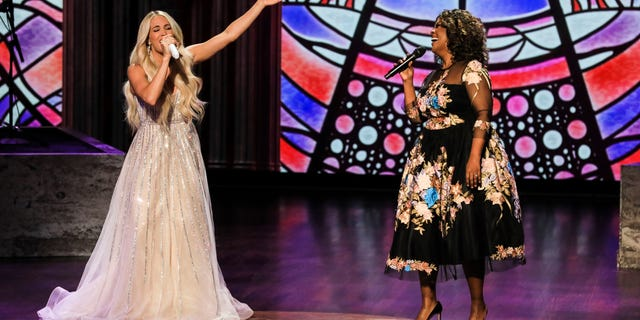 Carrie Underwood and CeCe Winans wow viewers with their duet. (Photo by Brent Harrington/CBS via Getty Images)