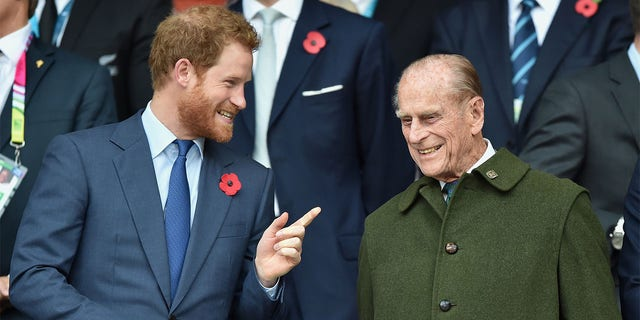 Prince Harry with his grandfather Prince Philip. The Duke of Edinburgh passed away on Friday at age 99.