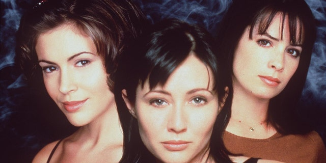 "The Cast Of ""Charmed."" From left: Alyssa Milano as Phoebe Halliwell, Shannen Doherty as Prue Halliwell and Holly Marie Combs as Piper Halliwell. (Getty Images)"