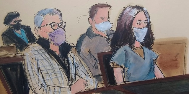 In this courtroom sketch, Ghislaine Maxwell, far right, appears in Manhattan Federal court seated next to her attorney Bobbi C. Sternheim, second from left, along with her sister Isabel Maxwell, far left, during her arraignment on a superseding indictment, Friday, April 23, 2021, in New York. (AP Photo/Elizabeth Williams)