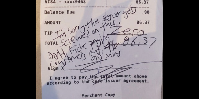 A customer at Glenbrook Brewery in Morristown, N.J. left this note and refused to tip because the restaurant has a 90-minute time limit on indoor dining because of state COVID-19 regulations.