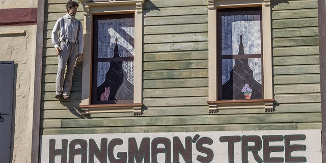 Hangman's tree historic spot is a building in Placerville with a puppet of a man hanging from the gallows