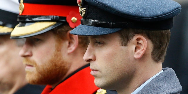 Britain's Prince William, right, and Prince Harry attend the Remembrance Sunday ceremony at the Cenotaph in London. Senior royals must wear civilian clothes to Prince Philip's funeral, defusing potential tensions over who would be allowed to don military uniforms. Queen Elizabeth II's decision means Prince Harry won't risk being the only member of the royal family not in uniform during the funeral on Saturday April 17, 2021 for his grandfather, who died last week at the age of 99.