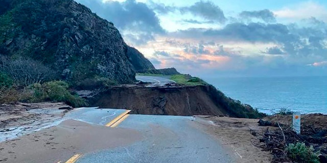 The highway is expected to reopen by April 30, nearly two months ahead of schedule. A portion of Highway 1 that was washed away in January is pictured. (Caltrans District 5 via AP)