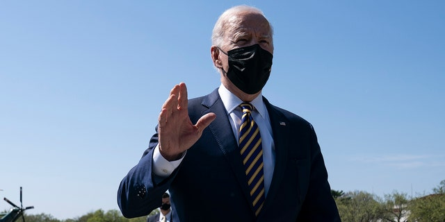 President Joe Biden speaks to reporters about the Ellipse on the National Mall after spending the weekend at Camp David, Monday, April 5, 2021, in Washington.  (AP Photo / Evan Vucci)