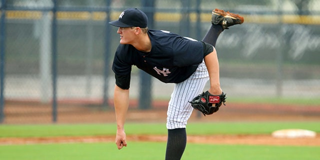 07 JUL 2014: Ty Hensley, the 2013 first round pick of the Yankees, in action during the Gulf Coast League game between the Gulf Coast League Pirates and the Gulf Coast League Yankees 1 at the Yankees Minor League Complex in Tampa, Florida. (Photo by Cliff Welch/Icon SMI/Corbis/Icon Sportswire via Getty Images)
