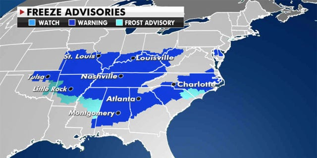 Freeze advisories have been issued across Mississippi, Tennessee and Ohio. (Fox News)
