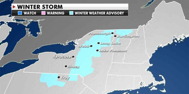 Four to eight inches of heavy snow could fall over upstate New York and New England. (Fox News)