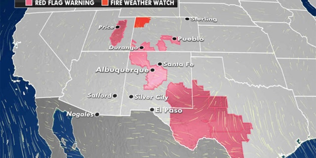 Wildfire danger in the Southwest (Credit: Fox News)