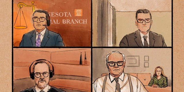 A courtroom sketch shows former Brooklyn Center police Officer Kim Potter, lower right, background, at her first court appearance along with her attorney Earl Gray, over Zoom on Thursday, in the traffic-stop shooting death of Black motorist Daunte Wright in Brooklyn Center, Minn. At the lower left is Hennepin County Judge Paul Scoggin, while other unidentified court personnel are seen at the top left and right. (Cedric Hohnstadt via AP)