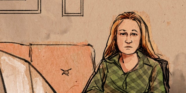 In this courtroom sketch, former Brooklyn Center police Officer Kim Potter makes her first court appearance on Thursday, over Zoom, in the traffic-stop shooting death of Black motorist Daunte Wright in Brooklyn Center, Minn. (Cedric Hohnstadt via AP)