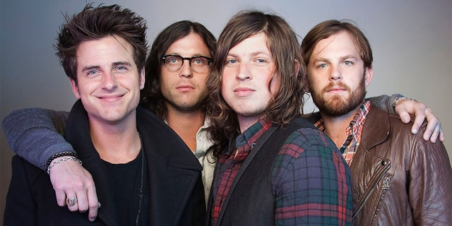 FILE - In this Oct. 21, 2010 file photo, members of the band Kings of Leon, from left, Jared Followill, Nathan Followill, Matthew Followill and Caleb Followill, pose for a portrait in New York. The group is set tohelp kick off NFL draft activities later this month. (AP Photo/Victoria Will, File)