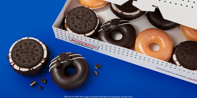 Krispy Kreme customers can get their hands on an Oreo Cookie Glazed Doughnut and Oreo Cookie Over-the-Top Doughnut. (Krispy Kreme Doughnuts)