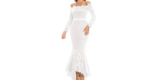 The Lalagen Women's Floral Lace Long Sleeve Off Shoulder Wedding Mermaid Dress, pictured.