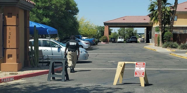 An Arizona hotel housing migrants is pictured.
