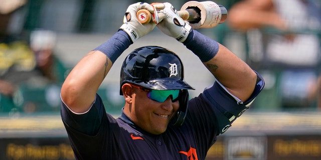 Detroit Tigers' Miguel Cabrera waits on-deck during the fifth inning of a spring training exhibition baseball game against the Pittsburgh Pirates in Bradenton, Fla., Friday, March 26, 2021. (AP Photo/Gene J. Puskar)