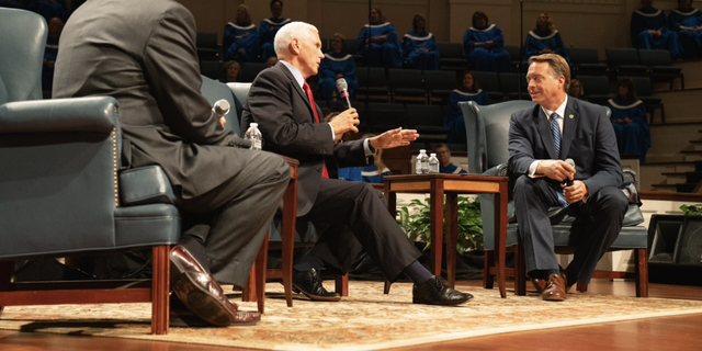 Former Vice President Mike Pence takes part in a 'fireside chat' with approximately 400 pastors gathered at the First Baptist Church of Columbia, in Columbia, South Carolina on April 29, 2021.