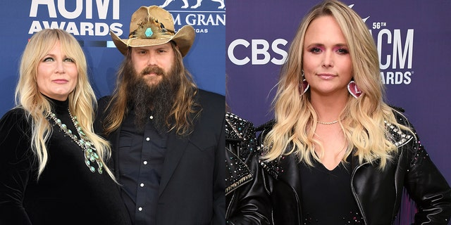 Miranda Lambert, right, replaced Morgane Stapleton, left, who was supposed to perform with Chris, center. Morgane reportedly had to drop out due to a prior Doula commitment.