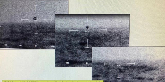 """Jeremy Corbell says this series of photos was taken from the USS Omaha showing a """"spherical""""-shaped vehicle observed descending into the ocean without destruction."""