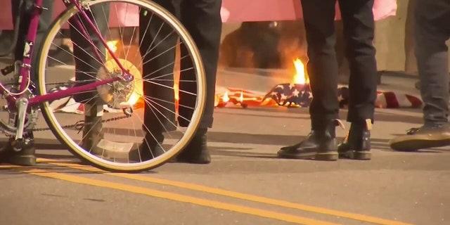 Durham, North Carolina protesters set fire near police headquarters.