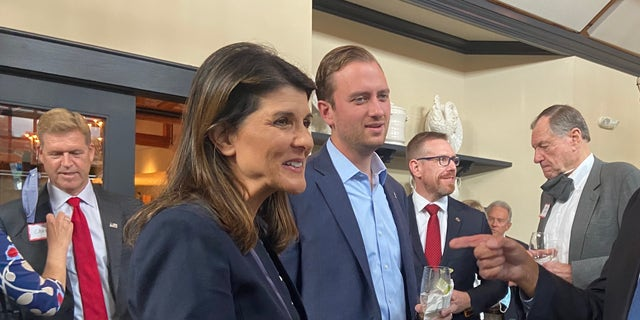 Former U.S. ambassador to the U.N. Nikki Haley campaigns with 2020 NH-01 GOP congressional nominee Matt Mowers in Bedford, New Hampshire, on Oct. 1, 2020.