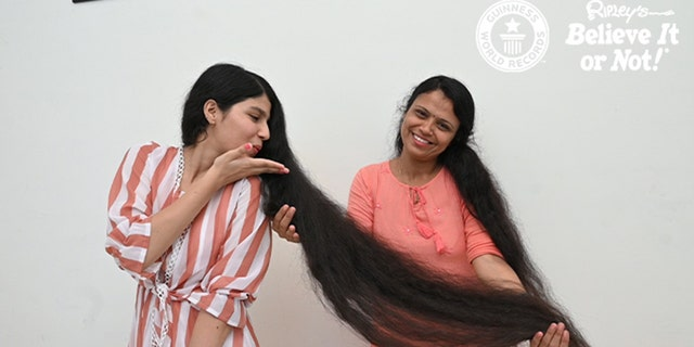 Nilanshi Patel and her mom Kaminiben before the big chop.