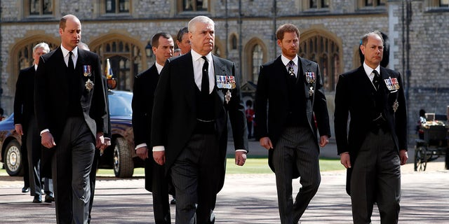 The Duke of Sussex and Duke of Cambridge were separated by their cousin, Peter Phillips, in the third line of the family procession to St. George's Chapel.