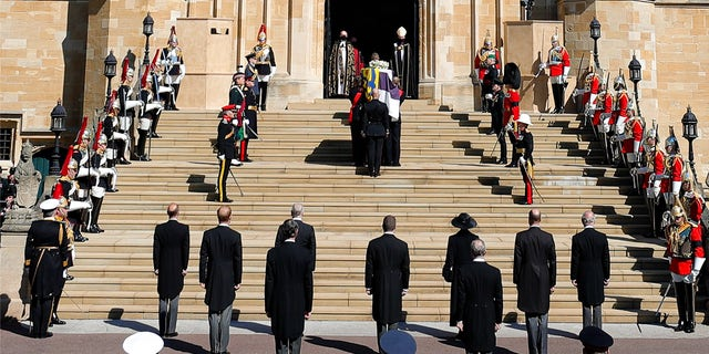 A minute of silence is observed at St George's Chapel for the funeral of Britain's Prince Philip inside Windsor Castle in Windsor, England, Saturday, April 17, 2021.