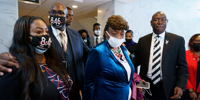 From left, Keeta Floyd, her husband Philonise Floyd, brother of George Floyd who was killed by Minneapolis police, Gwen Carr, mother of Eric Garner who was killed by a New York Police Department officer using a prohibited chokehold during his arrest, and civil rights attorney Ben Crump, who represented the family George Floyd, talk to reporters following a meeting with Sen. Tim Scott, R-S.C., who is working on a police reform bill in the Senate, at the Capitol in Washington, Thursday, April 29, 2021.