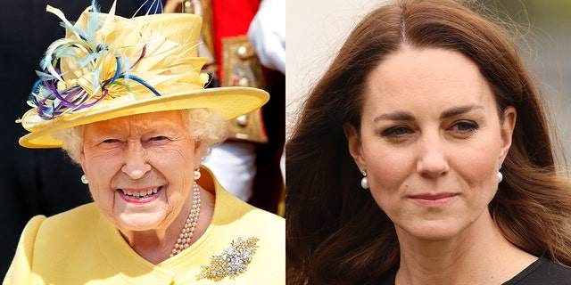 Kate Middleton, right, paid a subtle tribute to Queen Elizabeth, left, on her 95th birthday by donning a pair of diamond and pearl earrings she borrowed from the monarch, who first wore the heirloom earrings in 1977, when she celebrated her silver jubilee and has loaned them to the Duchess of Cambridge on various occasions.