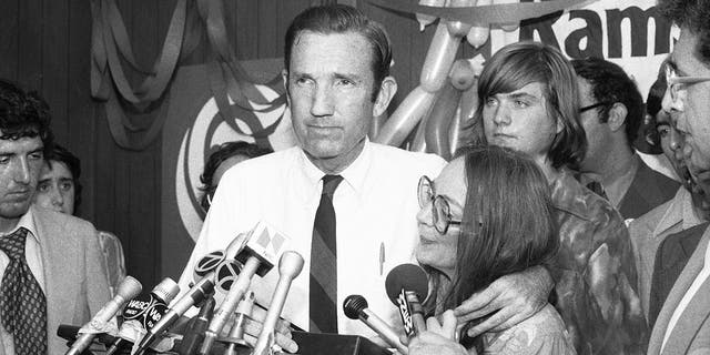 Ramsey Clark, Democratic candidate for the U.S. Senate, center, speaks at Lincoln Center in New York City, Sept. 14, 1976. (Associated Press)