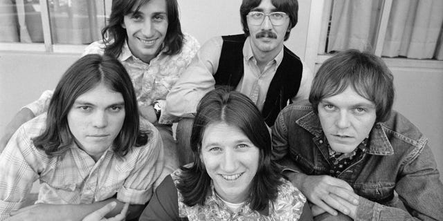 From left: Timothy B. Schmidt, Jim Messina, Rich Furay, George Grantham, Rusty Young of Poco on September 15, 1970.