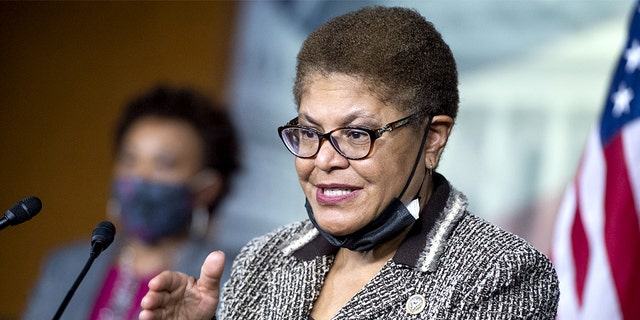 UNITED STATES - SEPTEMBER 23: Rep. Karen Bass, D-Calif., the former chair of the Congressional Black Caucus, conducts a news conference on the Jobs and Justice Act of 2020, which aims to increase the upward social mobility of Black families, and help ensure equal protection under the law, in the Capitol Visitor Center on Wednesday, September 23, 2020. (Photo By Tom Williams/CQ-Roll Call, Inc via Getty Images)