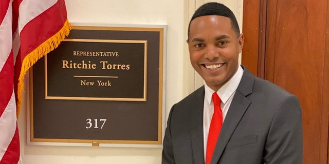 Rep. Ritchie Torres, D-N.Y., outside his congressional office in Washington, D.C.