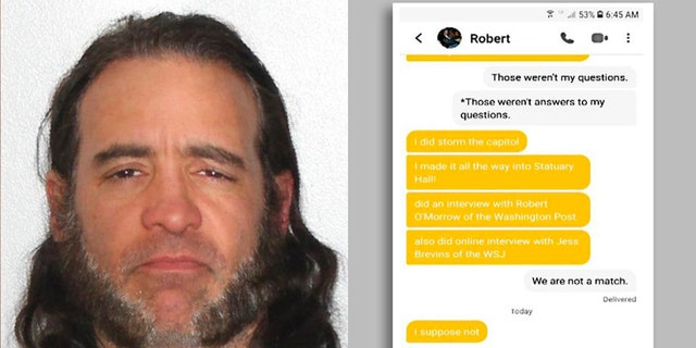 The Justice Department has charged Robert Chapman, an alleged Capitol rioter, who was turned in by someone he matched with on the dating app Bumble, after he bragged about his exploits on Jan. 6. (US Justice Department)