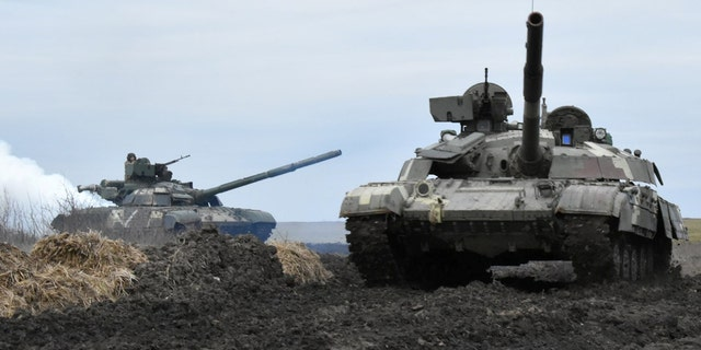 Tanks of the Ukrainian Armed Forces are seen during drills at an unknown location near the border of Russian-annexed Crimea, Ukraine. (Reuters/Press Service General Staff of the Armed Forces of Ukraine)