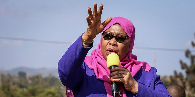 FILE - In this Tuesday, March 16, 2021, file photo, Tanzania's President Samia Suluhu Hassan speaks during a tour of the Tanga region of Tanzania.  (AP Photo/File)