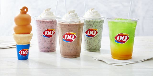 From left to right: Dreamsicle Dipped Cone, Raspberry Chip Shake, Choco Hazelnut Shake, Mint Chip Shake and Tropical Lemonade Twisty Misty Slush. (Dairy Queen)