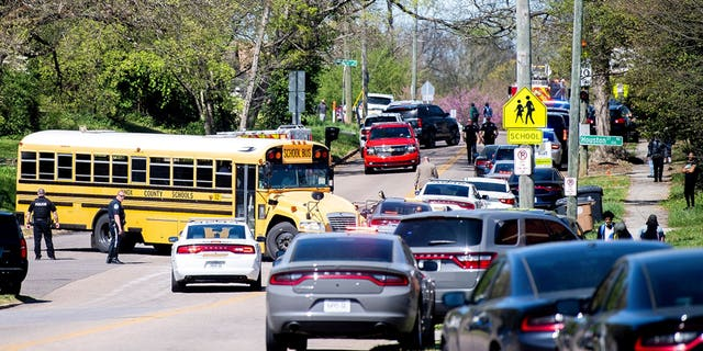 Police respond to a shooting Monday at Austin-East Magnet High School in Knoxville, Tenn. (Reuters/News Sentinel)