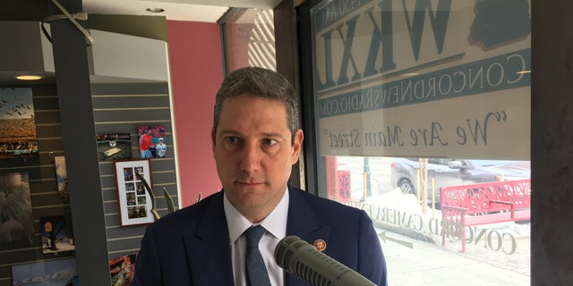 Rep. Tim Ryan of Ohio sits down for a radio interview in the first-in-the-nation presidential primary state of New Hampshire, ahead of the launch of his unsuccessful campaign for the 2020 Democratic presidential nomination, in Feb. 2019 in Concord, N.H.