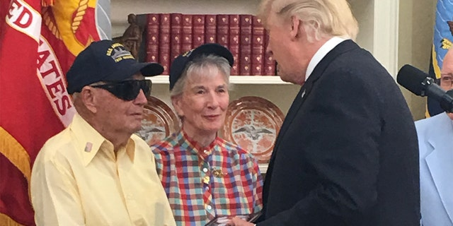 World War II veteran Ken Potts met President Trump during a 2017 tour of the White House. Potts is one of two remaining survivors of the USS Arizona, which was lost during the Dec. 7, 1941 attack on Pearl Harbor.