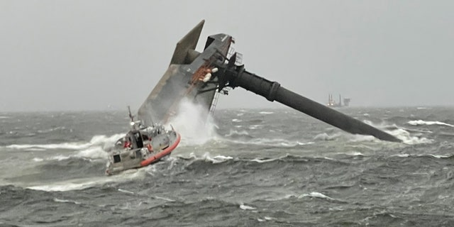 The Seacor Power overturned Tuesday when it encountered challenging weather in which winds were gusting as high as 90 miles per hour and seas were 7 to 9 feet high, according to Will Watson, the sector commander of Coast Guard Sector New Orleans. (U.S. Coast Guard)
